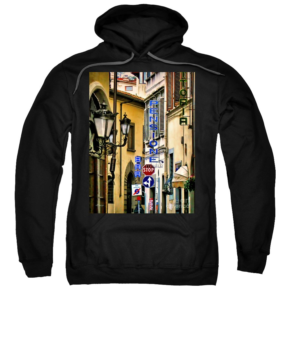 Pensione Ferretti Florence Sweatshirt featuring the photograph Corner Of Pensione And Bar by Jennie Breeze