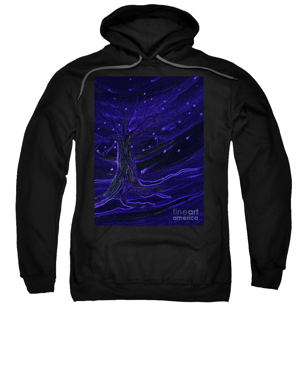 First Star Sweatshirt featuring the painting Cosmic Tree Blue by First Star Art