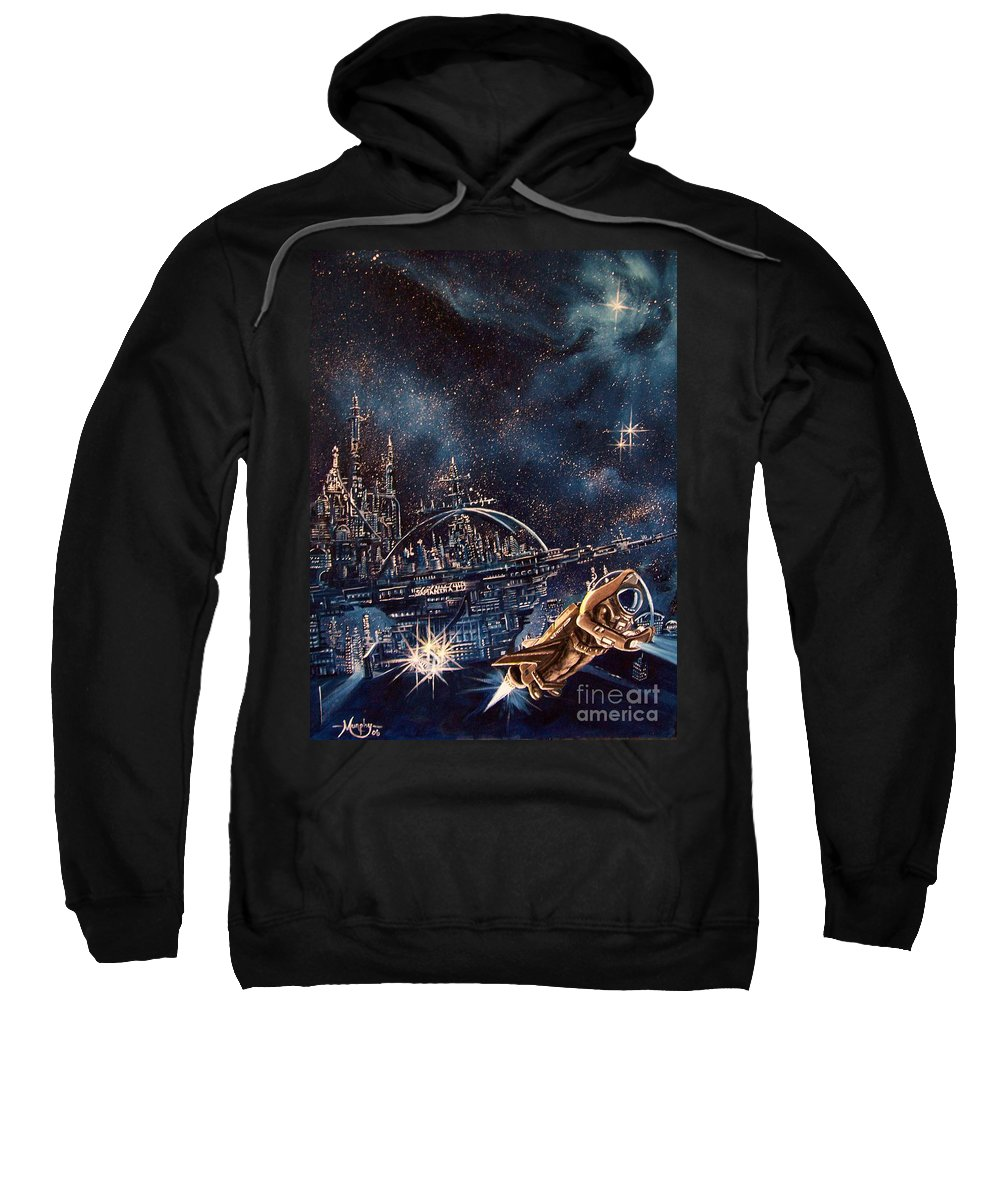 Space Sweatshirt featuring the painting Cosmo Jet by Murphy Elliott