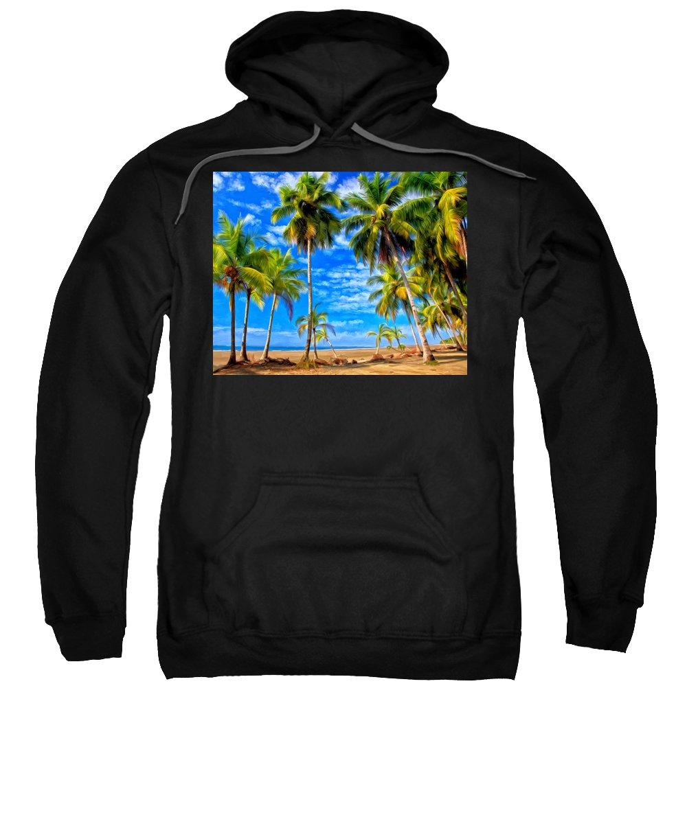 Tropical Sweatshirt featuring the painting Costa Rican Paradise by Michael Pickett