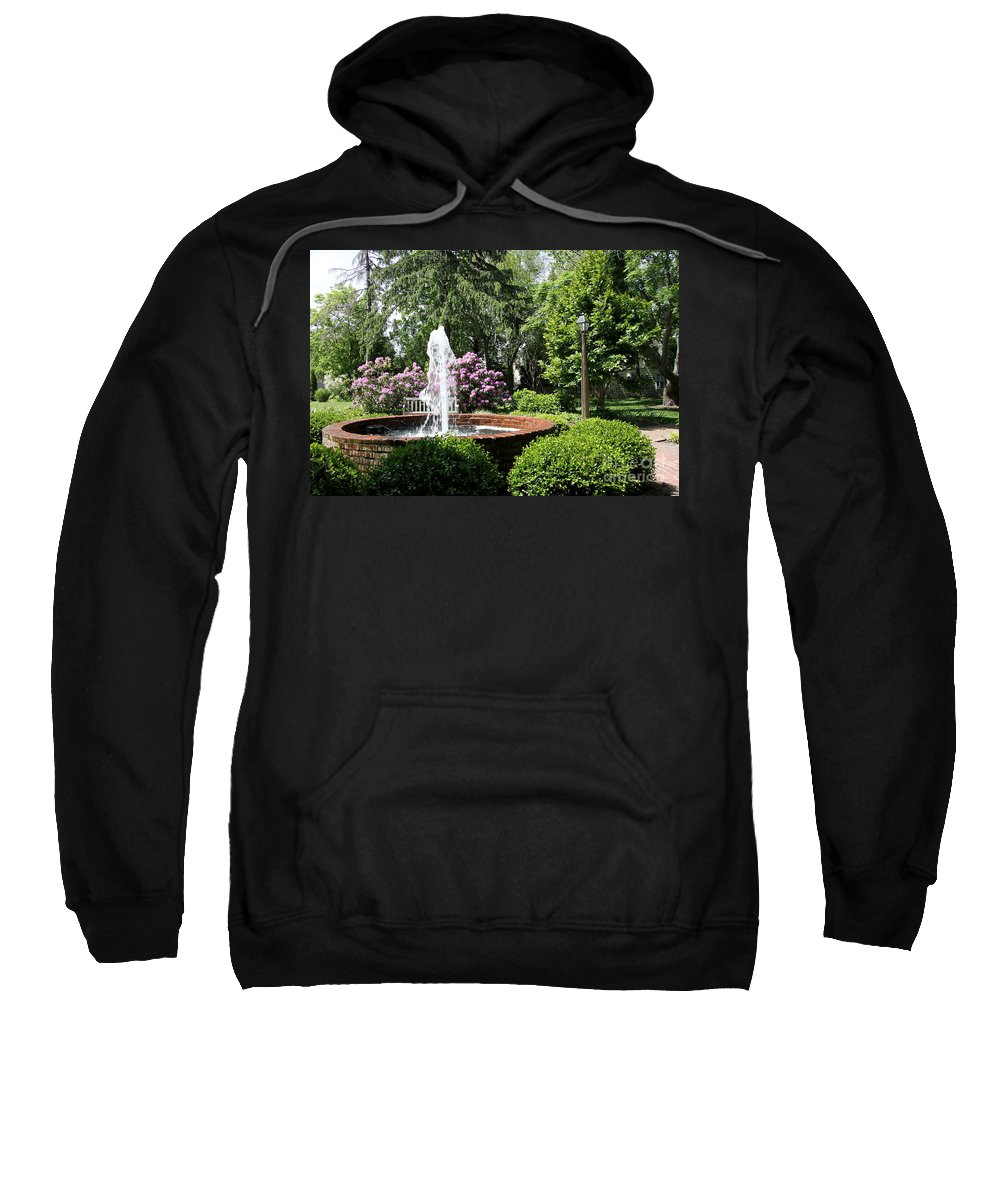Cottage Garden Sweatshirt featuring the photograph Cottage Garden Fountain by Christiane Schulze Art And Photography