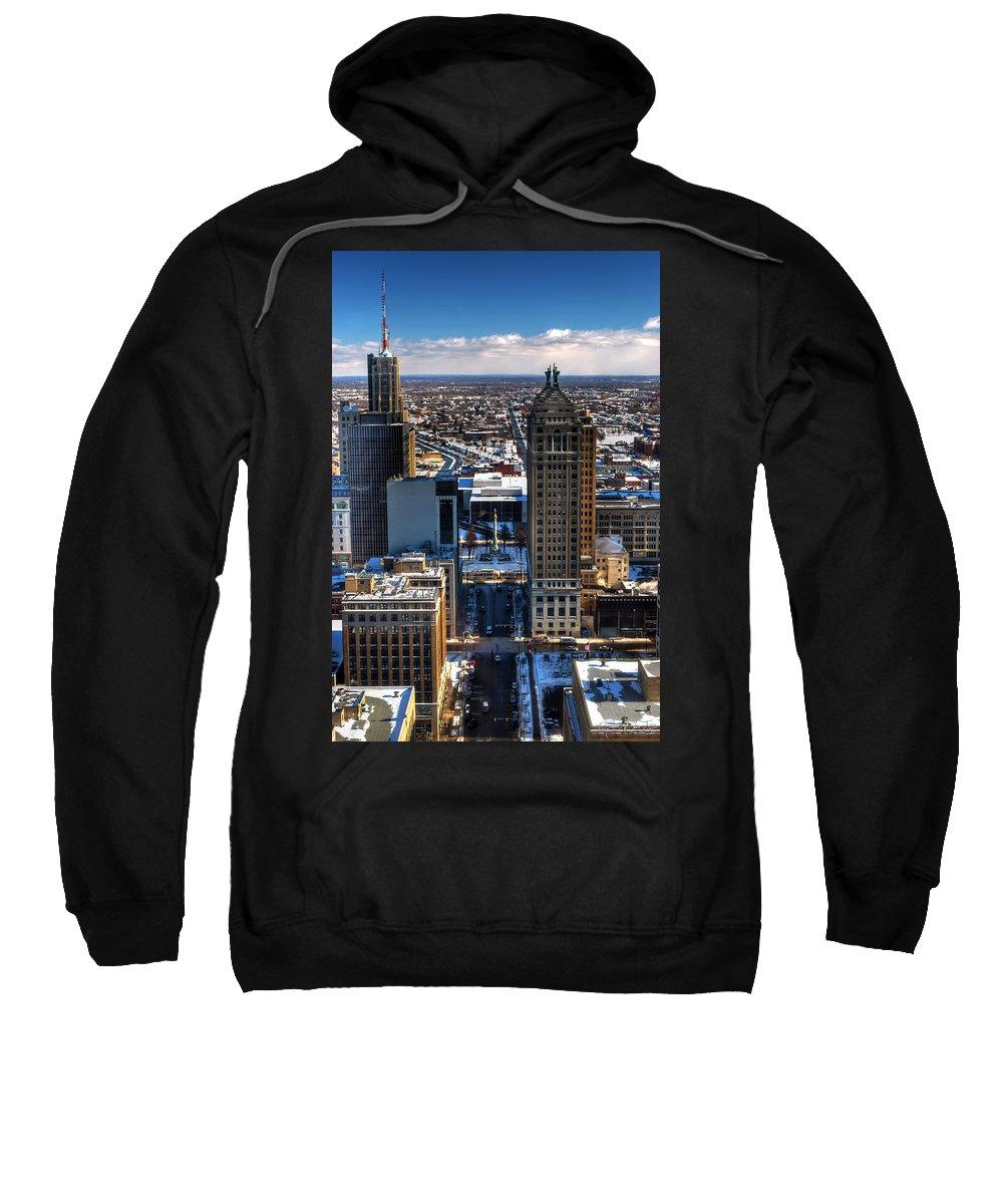 Winter Sweatshirt featuring the photograph Court Street Winter 2013 by Michael Frank Jr