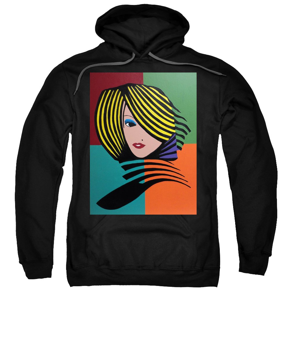 Cover Girl Sweatshirt featuring the painting Cover Girl by Angelo Thomas