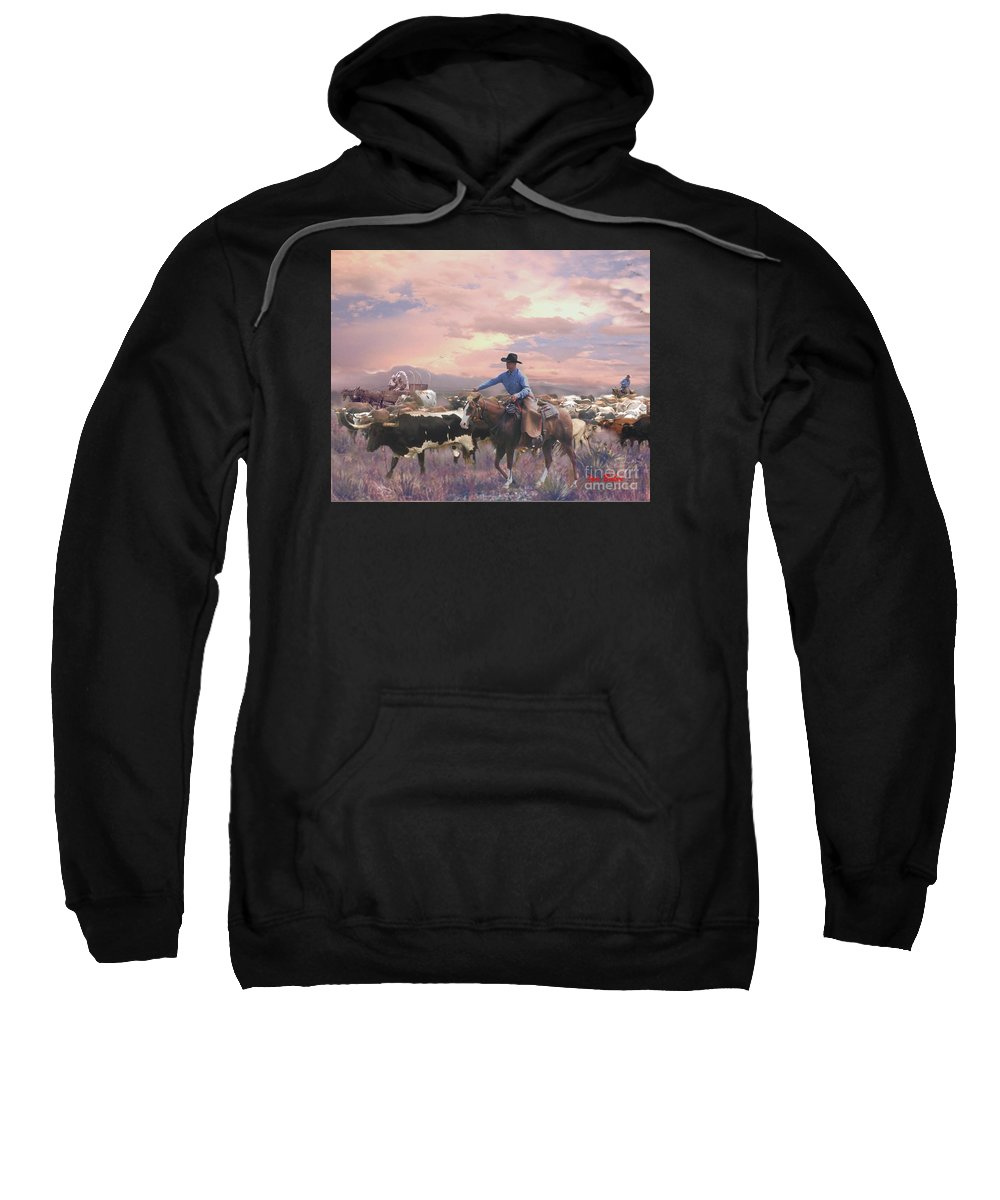 Working Cowboy Canvas Prints Sweatshirt featuring the digital art Crackin The Whip by Jim Baker