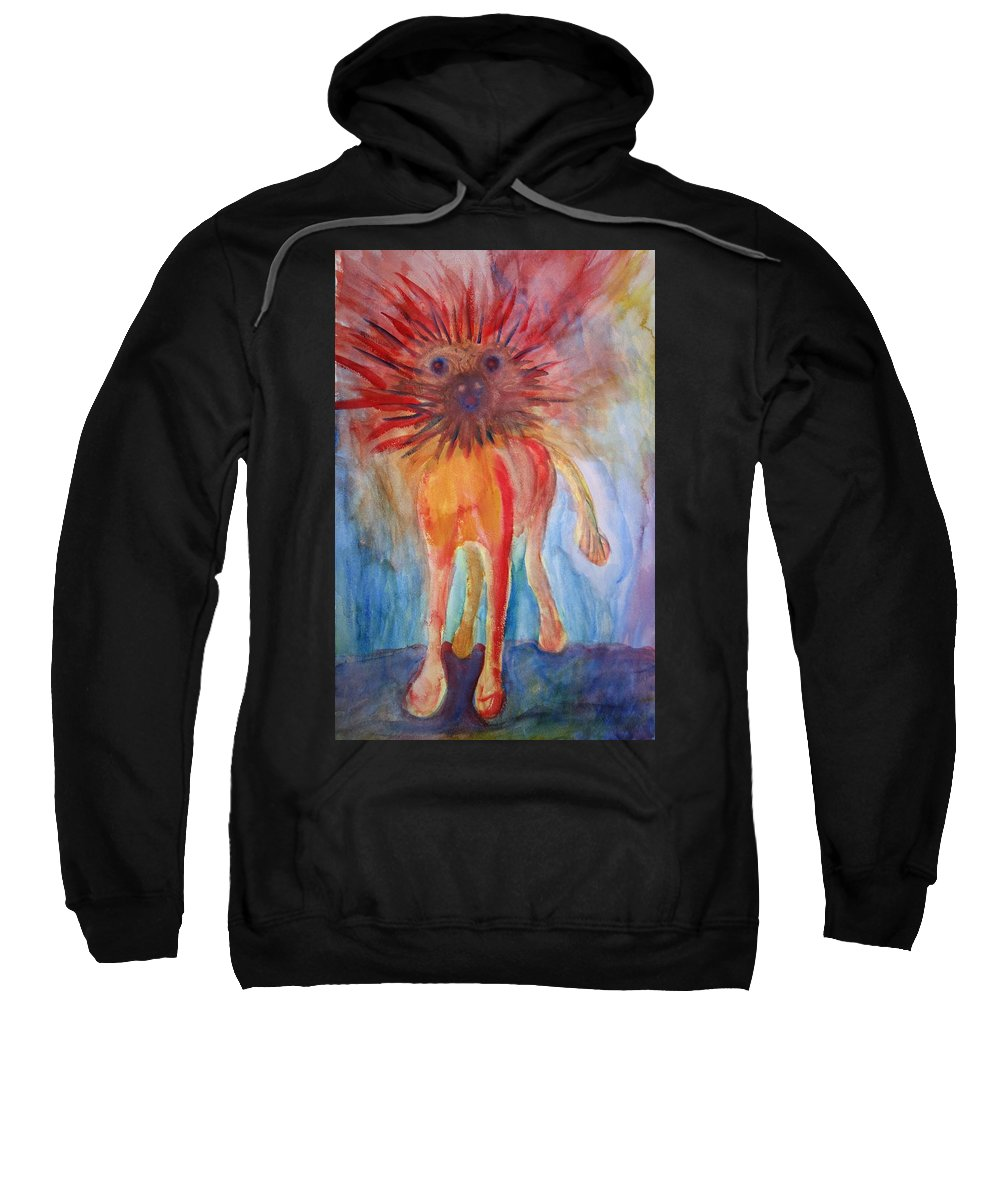 Troll Sweatshirt featuring the painting It Isn't Easy Being The Crazy Animal by Hilde Widerberg