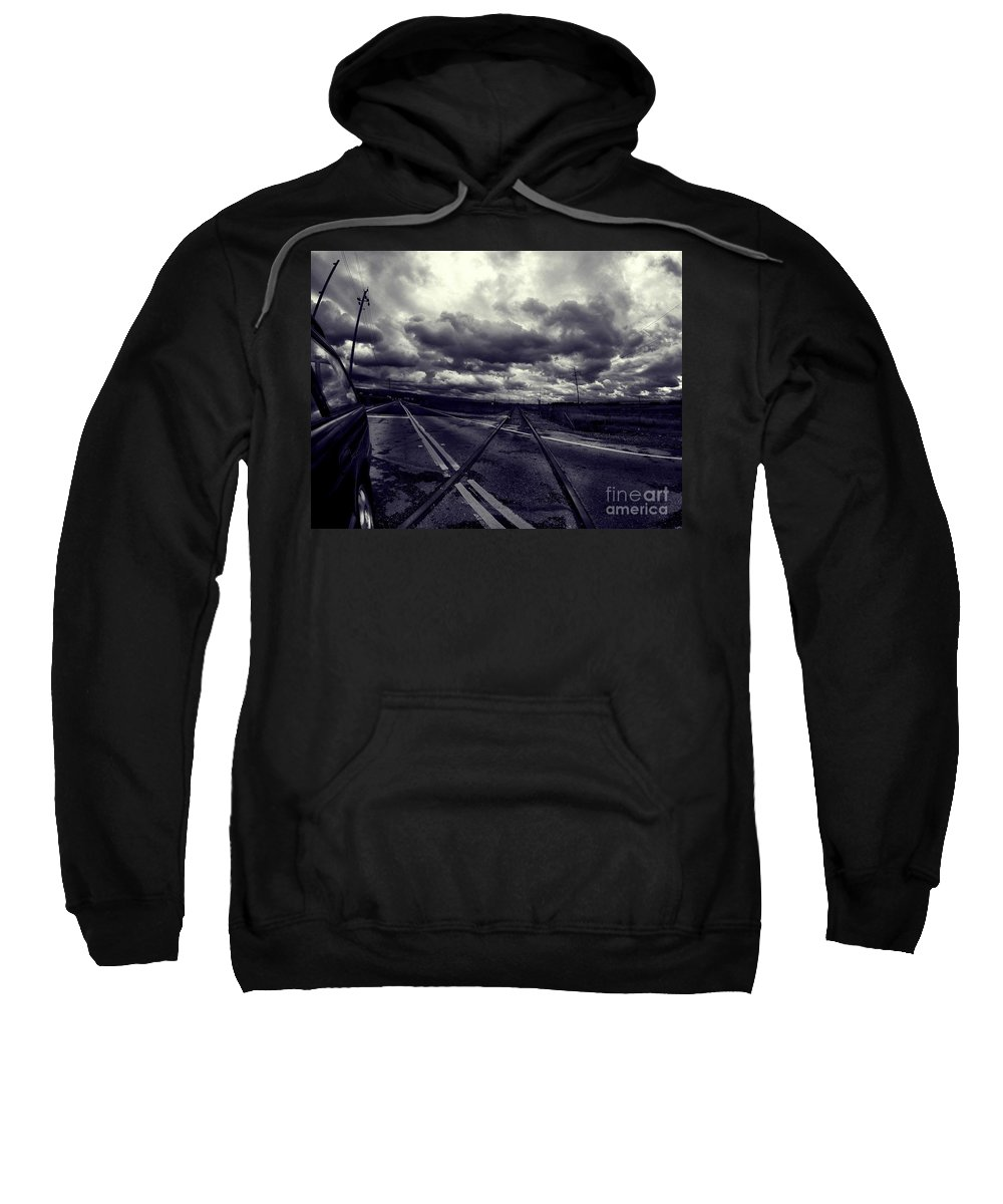 Landscape Sweatshirt featuring the photograph Crossed Tracks by Chris Phillips