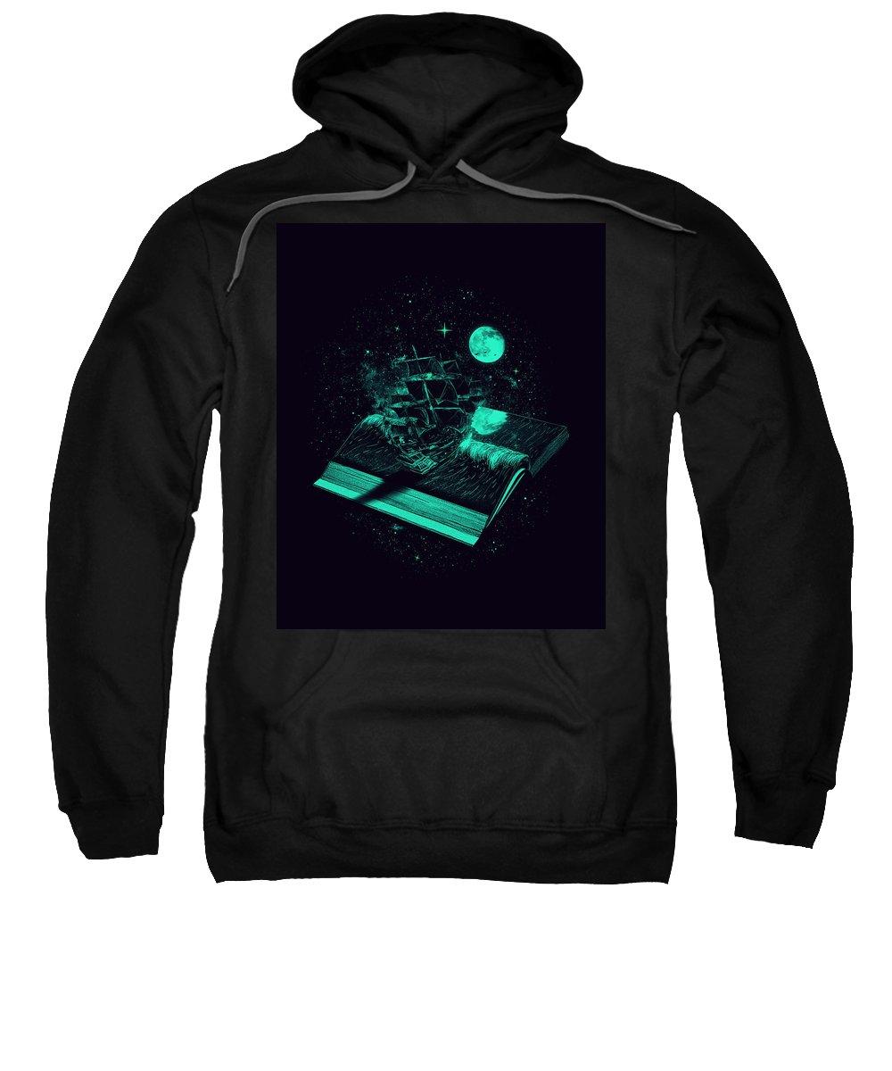 Book Sweatshirt featuring the digital art Crossing The Rough Sea Of Knowledge by Nicebleed