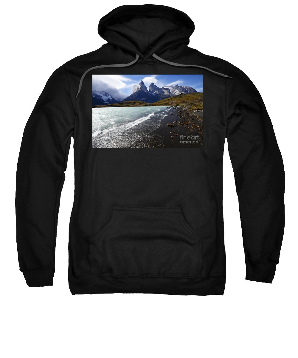Cueros Del Paine Sweatshirt featuring the photograph Cuernos Del Paine Patagonia 3 by Bob Christopher