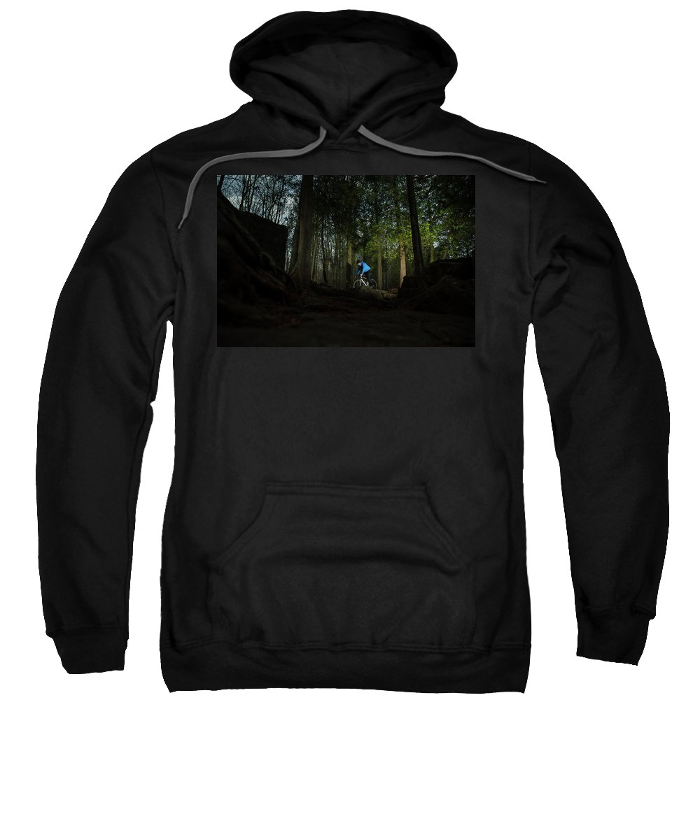 Young Adult Sweatshirt featuring the photograph Cyclist In Mountain Forest by Marko Radovanovic