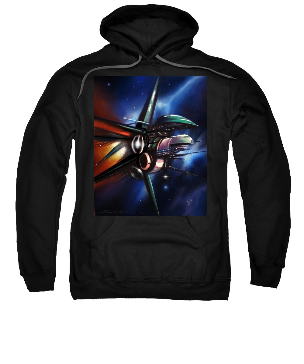 Starships Sweatshirt featuring the painting Daedalus Destroyer by James Christopher Hill
