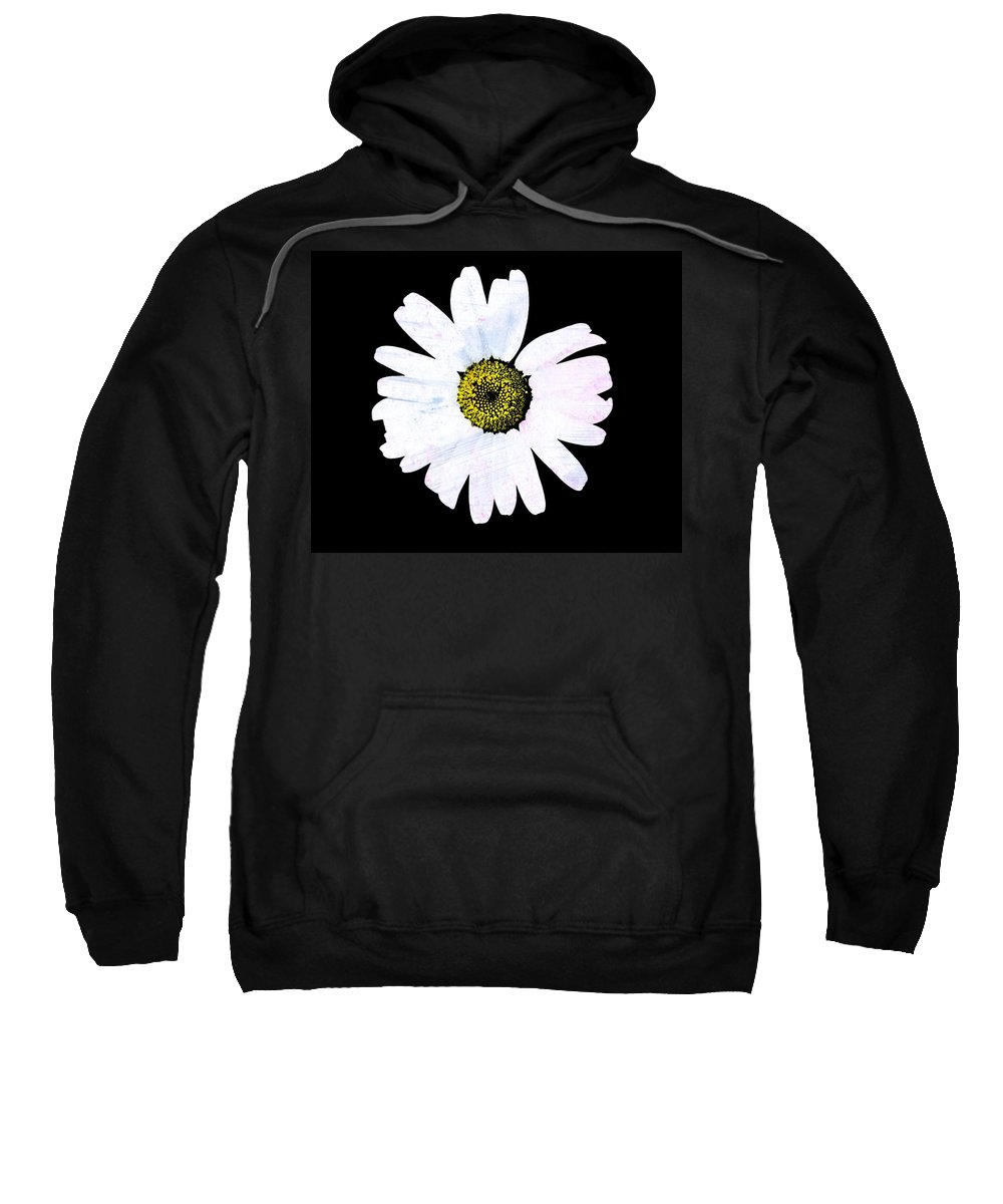 Daisy Sweatshirt featuring the photograph Daisy On Black by Marie Jamieson