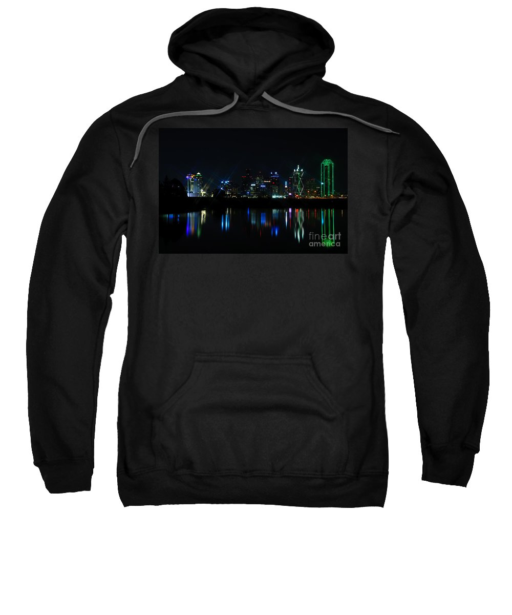 Dallas Sweatshirt featuring the photograph Dallas Reflections by Charles Dobbs
