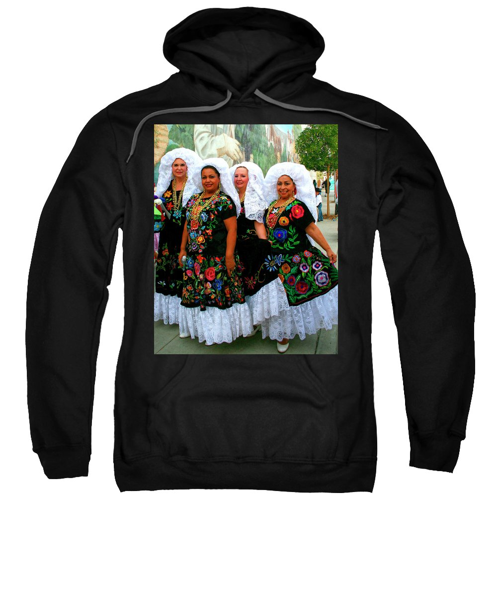 Tamale Festival Sweatshirt featuring the photograph Dancing Queens Palm Springs by William Dey