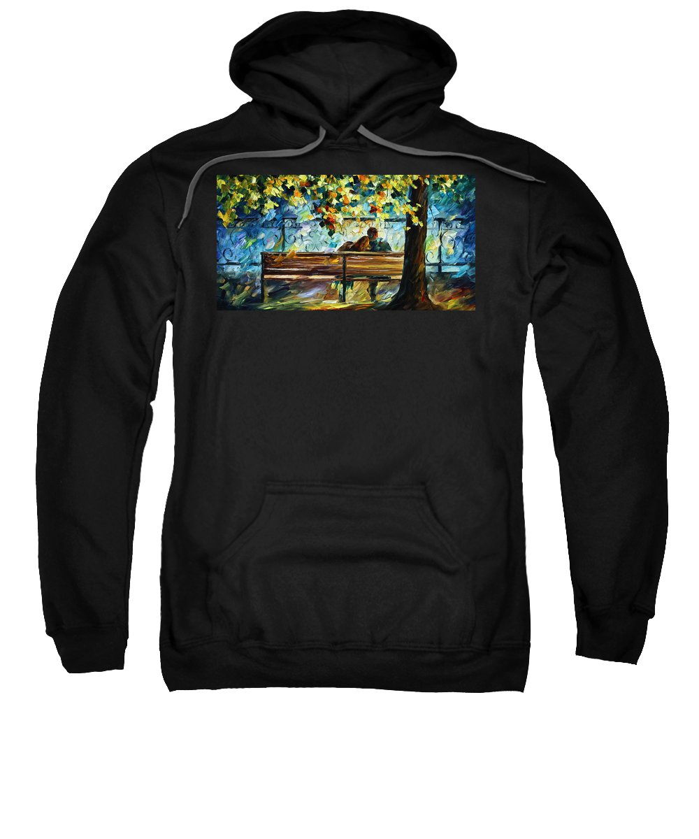 Landscape Sweatshirt featuring the painting Date On The Bench by Leonid Afremov