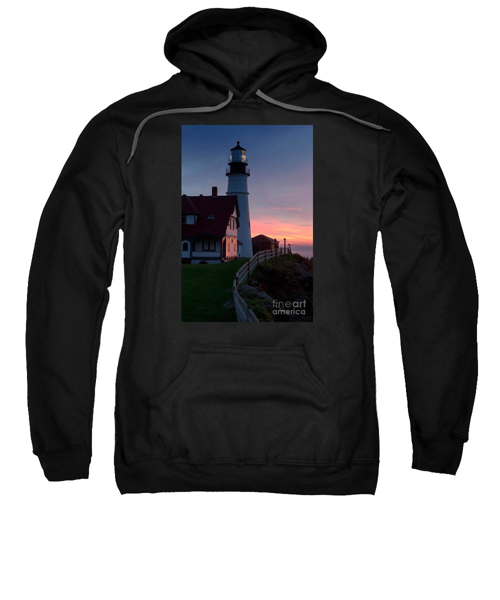 Sunrise Sweatshirt featuring the photograph Dawn At Portland Lighthouse by Jerry Fornarotto