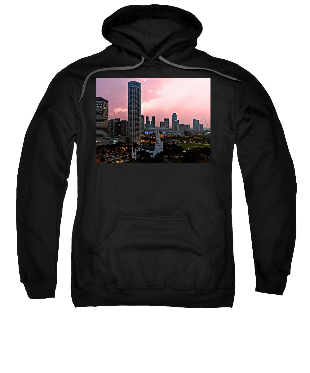 Singapore Sweatshirt featuring the photograph Dawn Over Singapore by Paul Fell