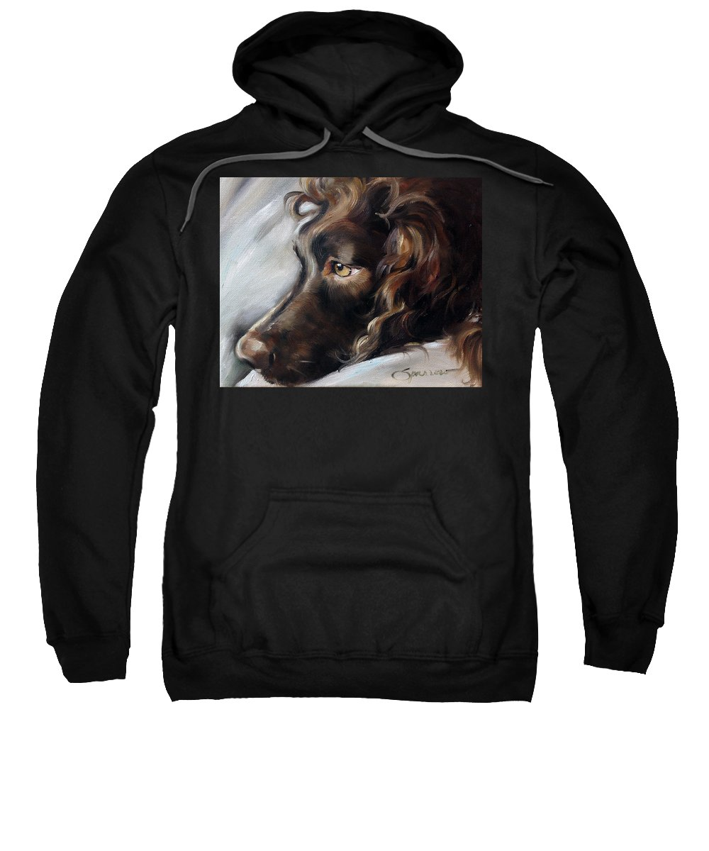 Boykin Spaniel Sweatshirt featuring the painting Day Dream by Mary Sparrow