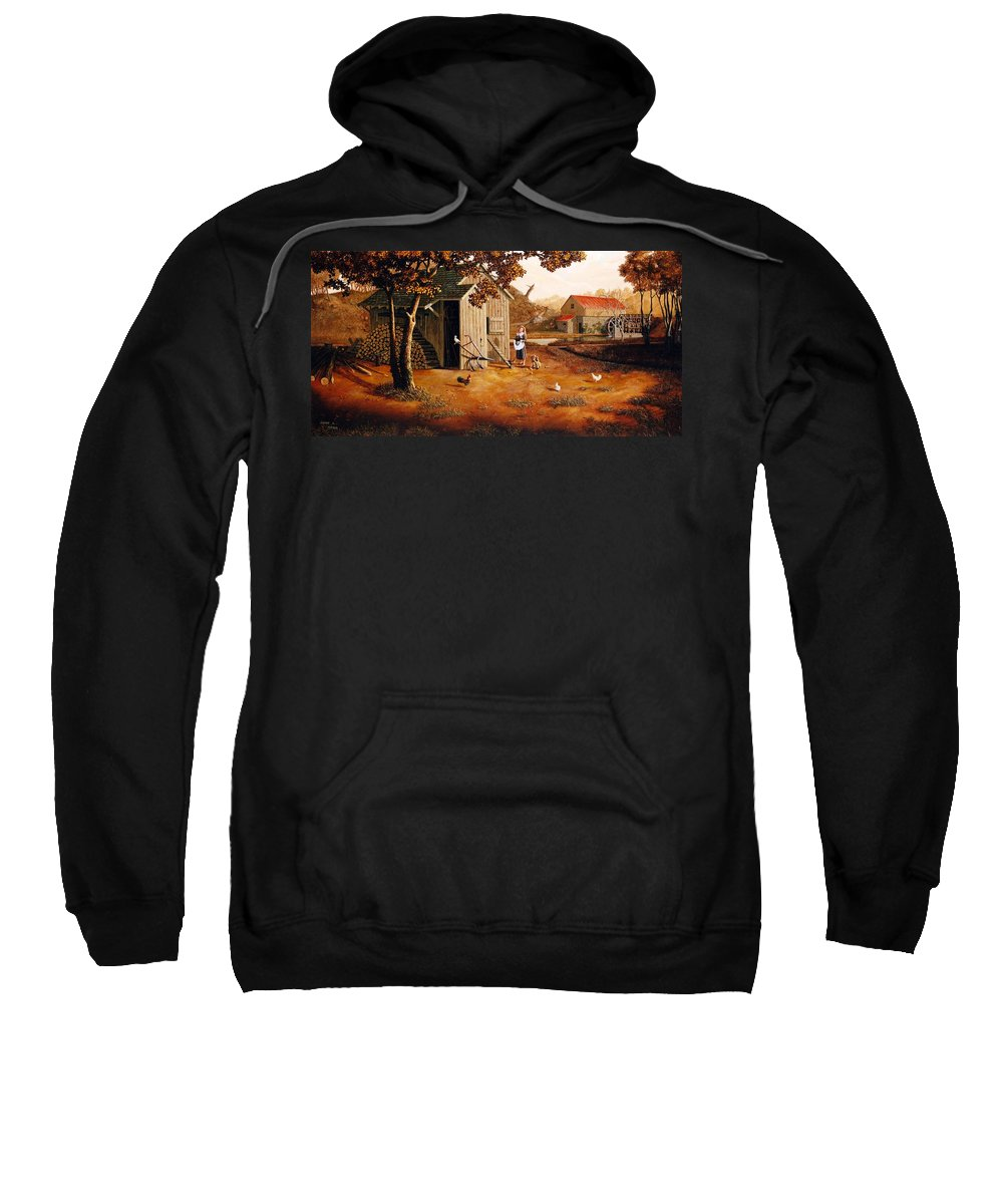 Farm Sweatshirt featuring the painting Days Of Discovery by Duane R Probus