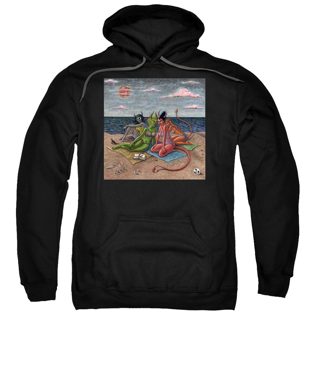Beach Sweatshirt featuring the painting Demon Beaches by Holly Wood