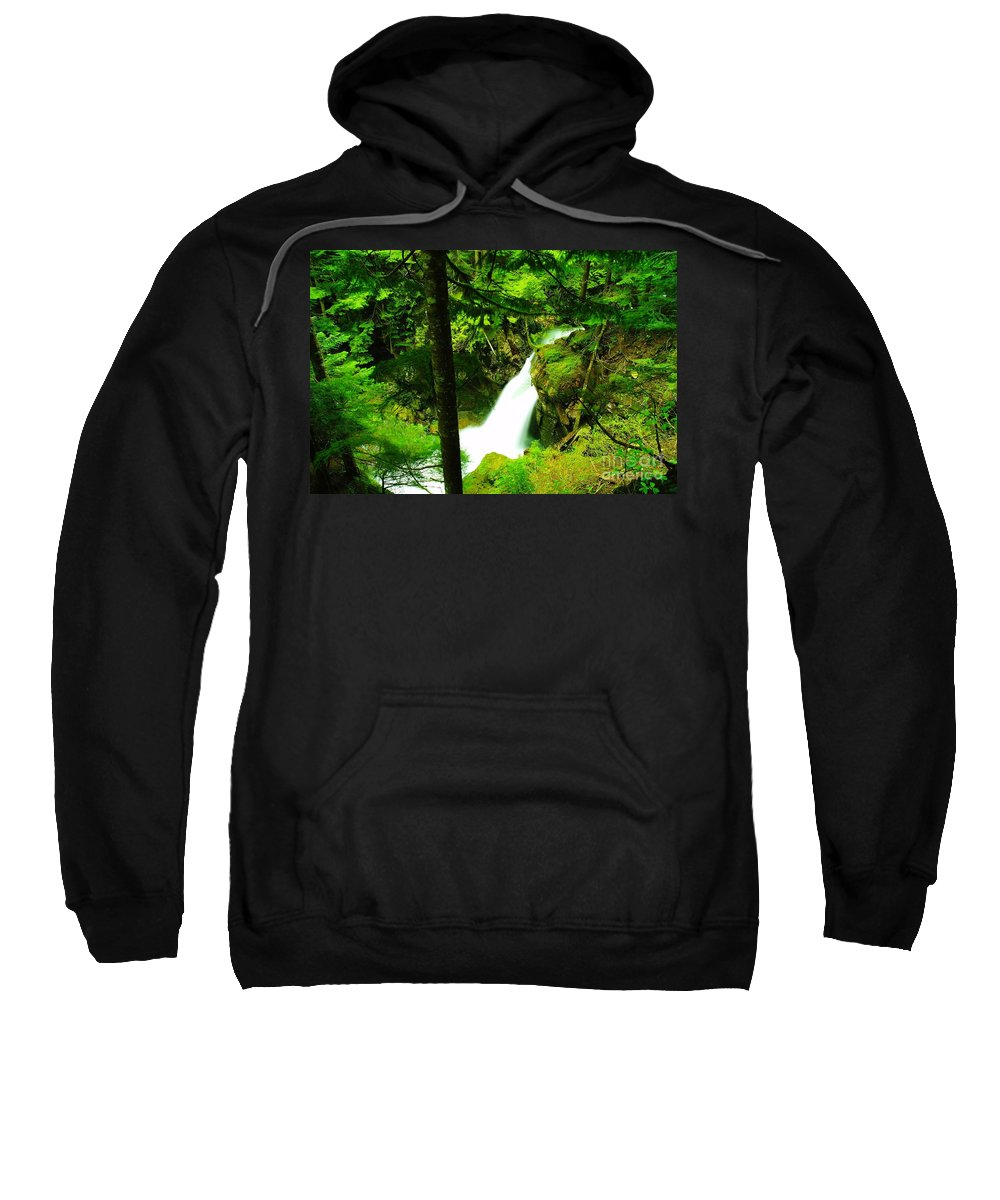 Water. Waterfalls Sweatshirt featuring the photograph Denny Camp Falls by Jeff Swan