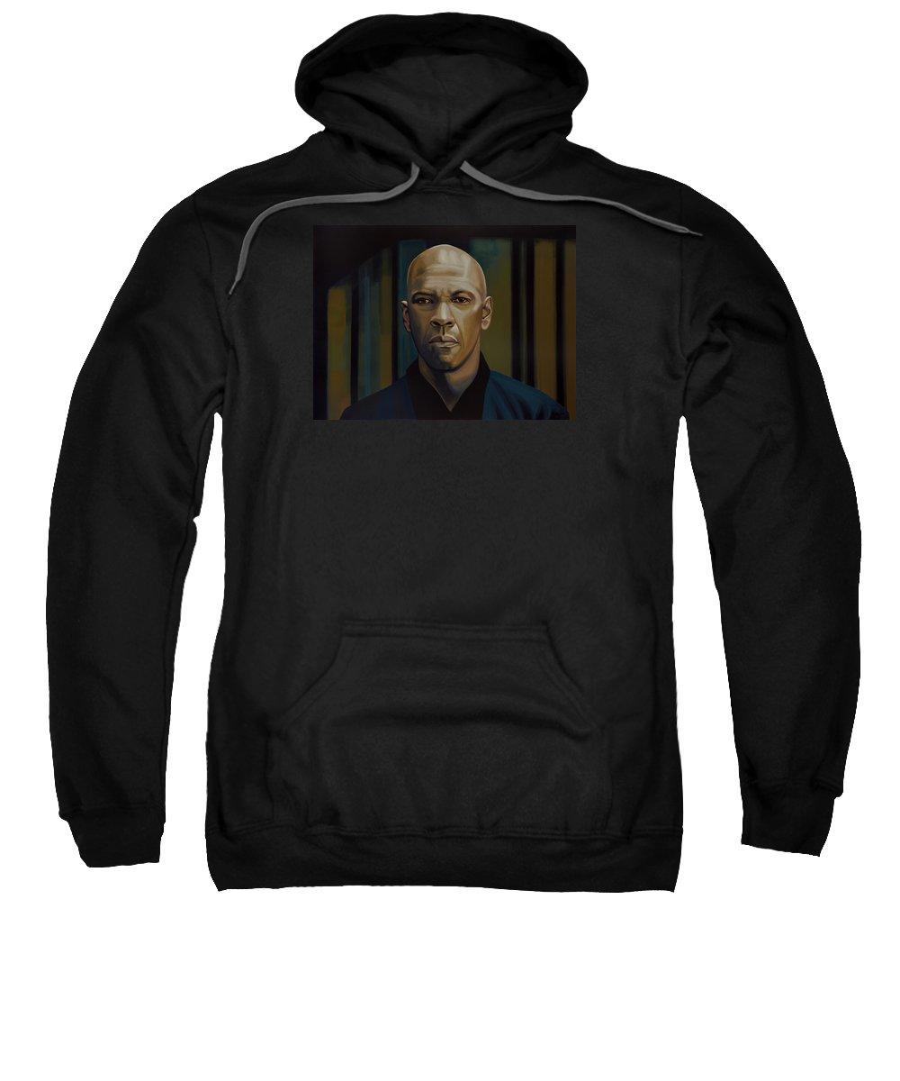 Denzel Washington Sweatshirt featuring the painting Denzel Washington In The Equalizer Painting by Paul Meijering