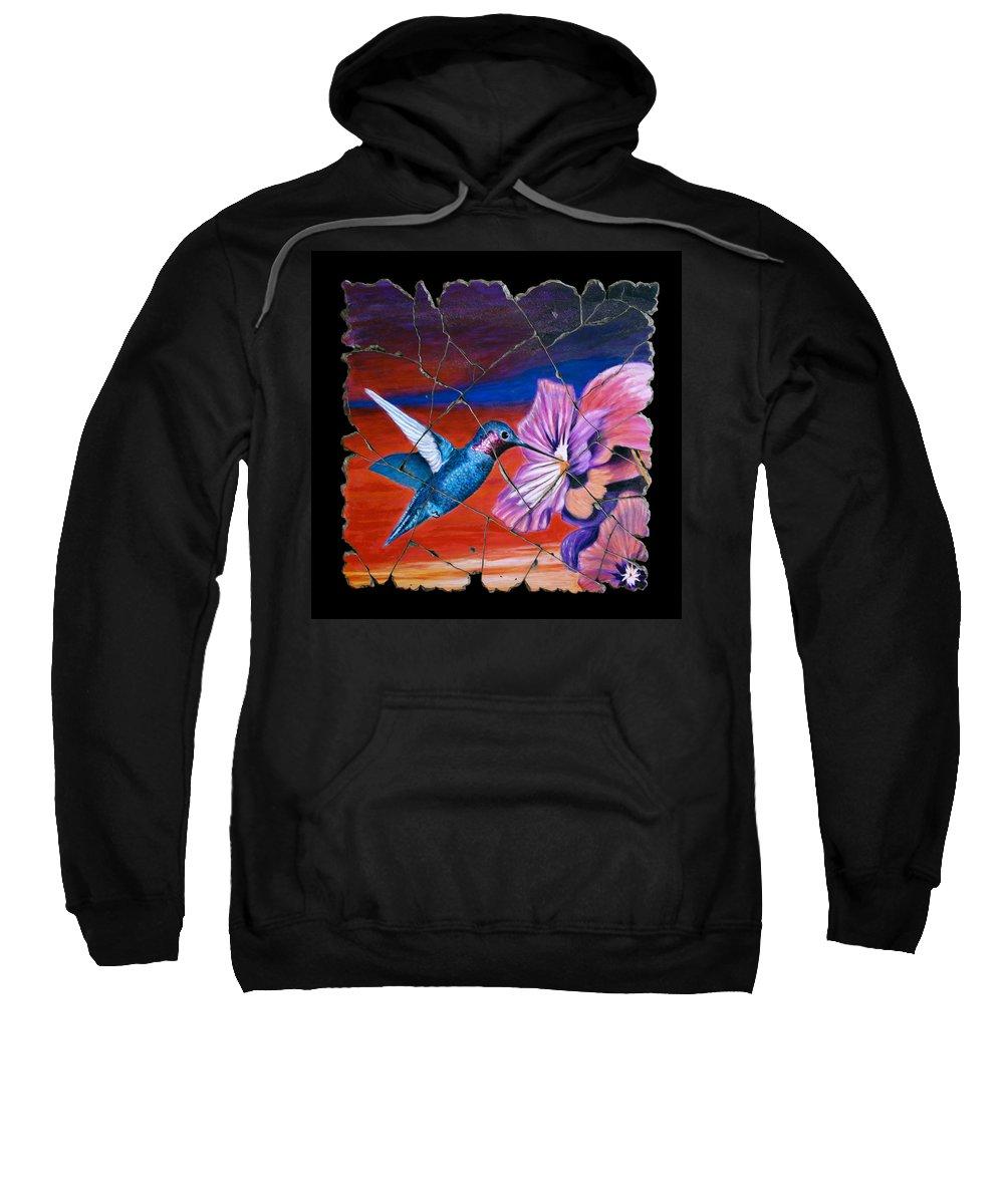 Hummingbird Sweatshirt featuring the painting Desert Hummingbird by Steve Bogdanoff