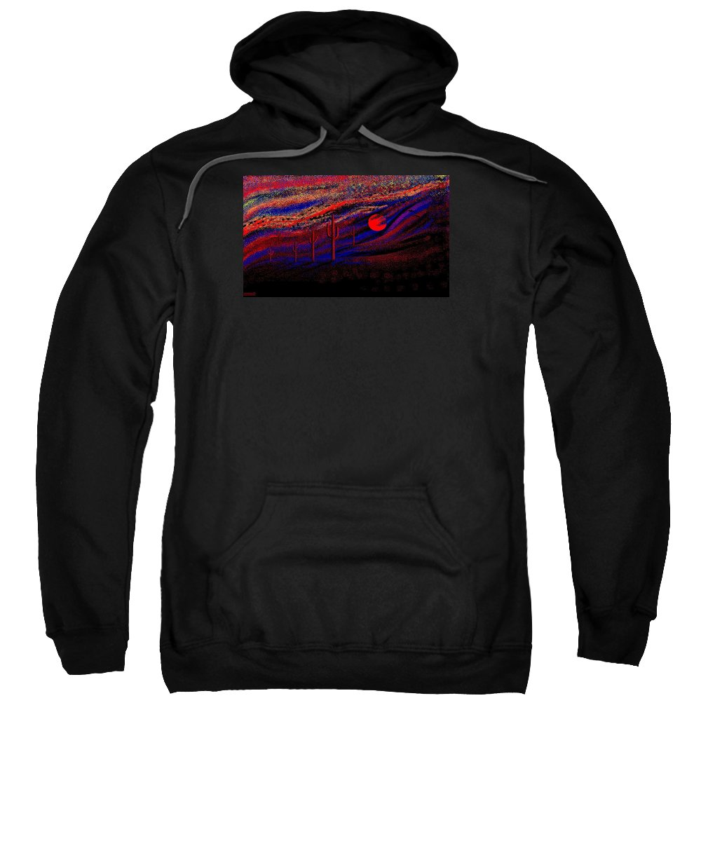 Desert Sunset Quickly Sketched In Four And Half Hours.... Sweatshirt featuring the digital art Desert Sunset by Larry Lehman