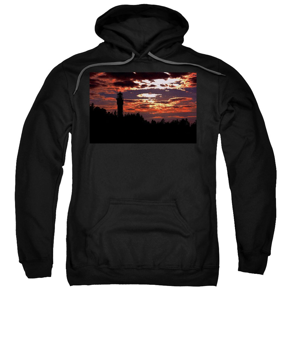 Apostle Sweatshirt featuring the photograph Devil's Island Lighthouse by Kim Blaylock