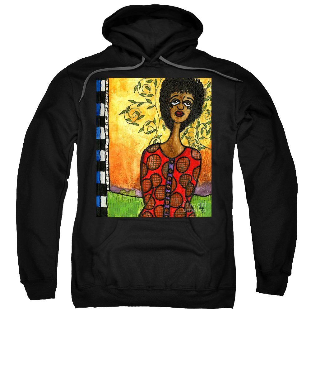 Acrylic Sweatshirt featuring the mixed media Does He Love Me by Angela L Walker