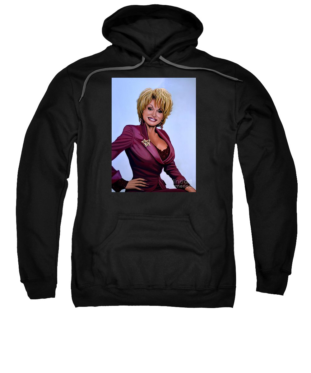 Dolly Parton Sweatshirt featuring the painting Dolly Parton by Paul Meijering