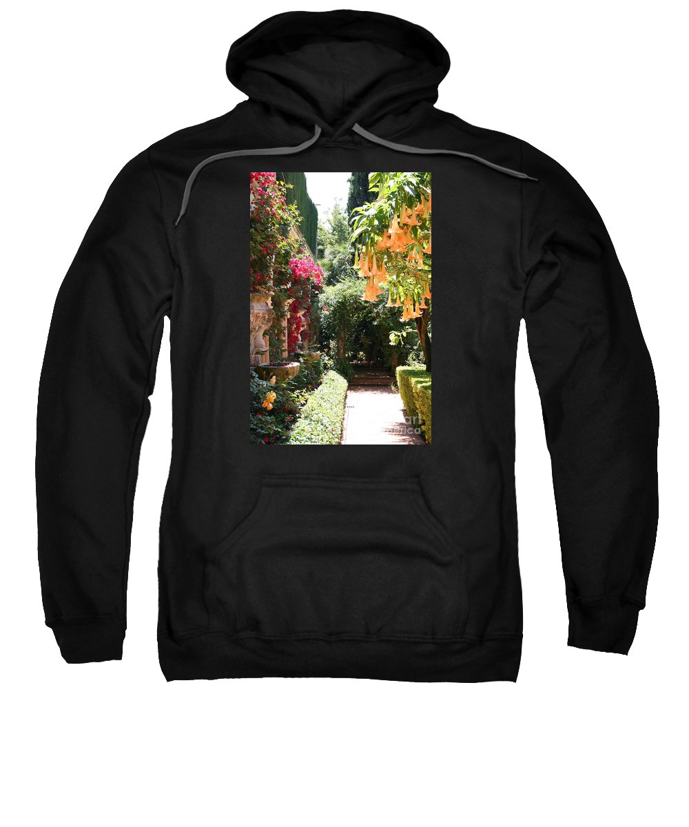 Dolphinfountain Sweatshirt featuring the photograph Dolphinfountain And Flowers - France by Christiane Schulze Art And Photography