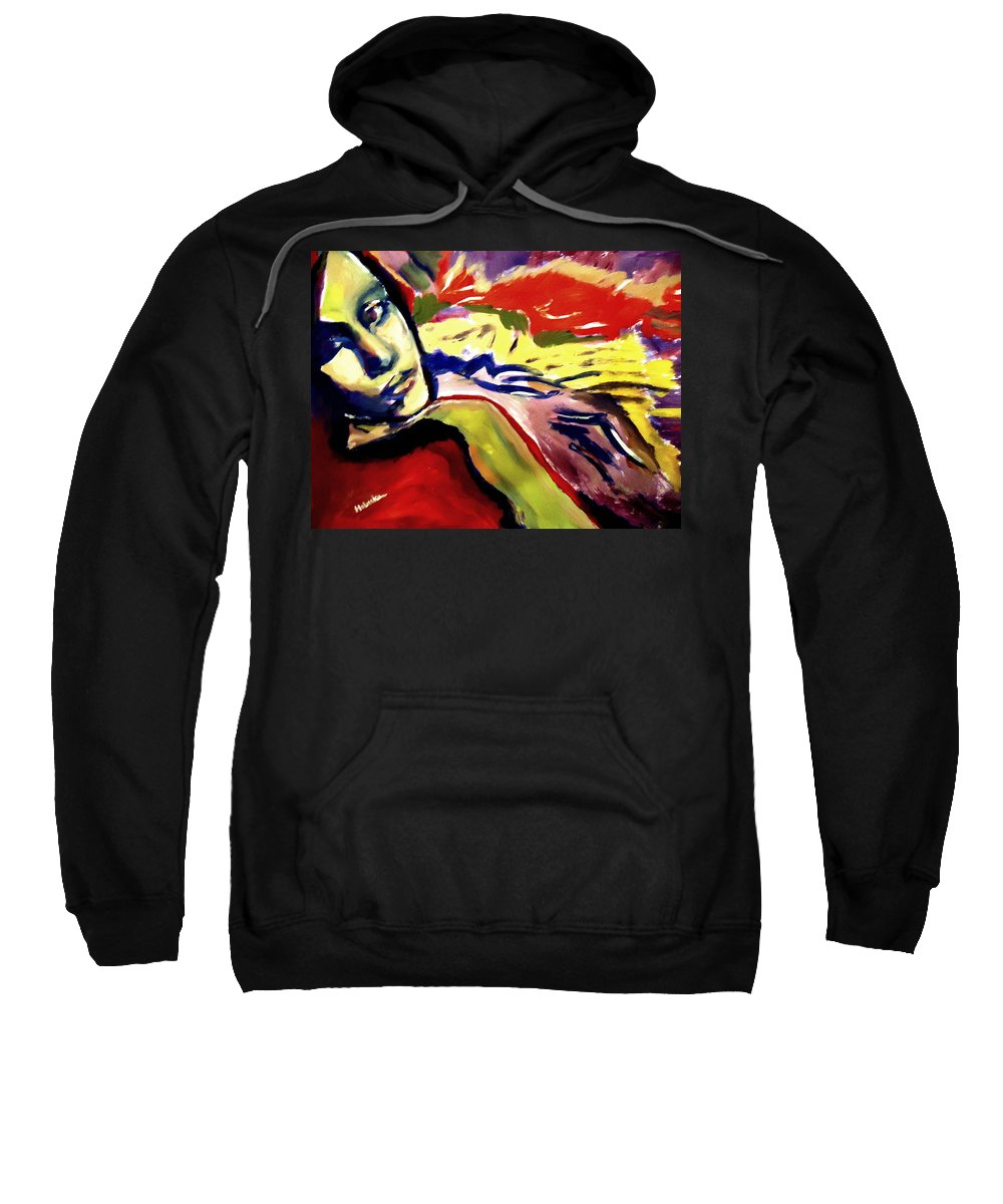Art Sweatshirt featuring the painting Don T Look Back by Helena Wierzbicki