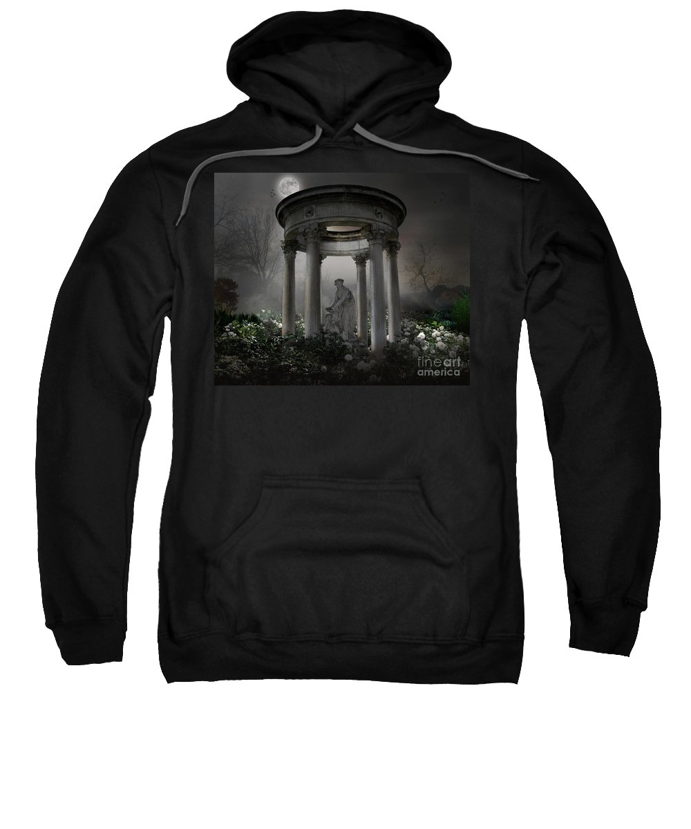 Photo Sweatshirt featuring the photograph Don't Wake Up My Sleepy White Roses - Moonlight Version by Peter Awax