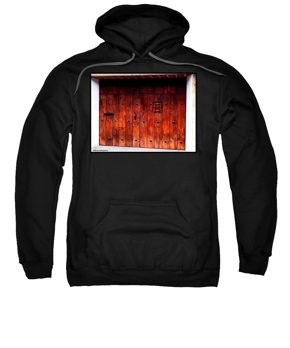 Old Doors Sweatshirt featuring the photograph Double Studded Wood Doors by Ellen Cannon