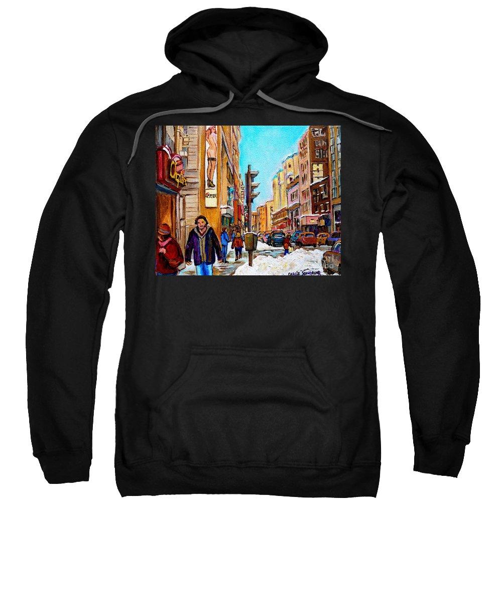 La Senza Lingerie Sweatshirt featuring the painting Downtown City Life by Carole Spandau
