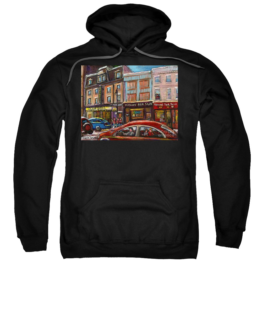 Montreal Sweatshirt featuring the painting Downtown Montreal Streetscene by Carole Spandau