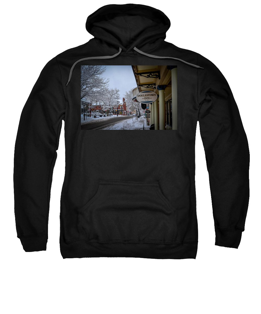 Doylestown Inn Sweatshirt featuring the photograph Doylestown Inn by Michael Brooks