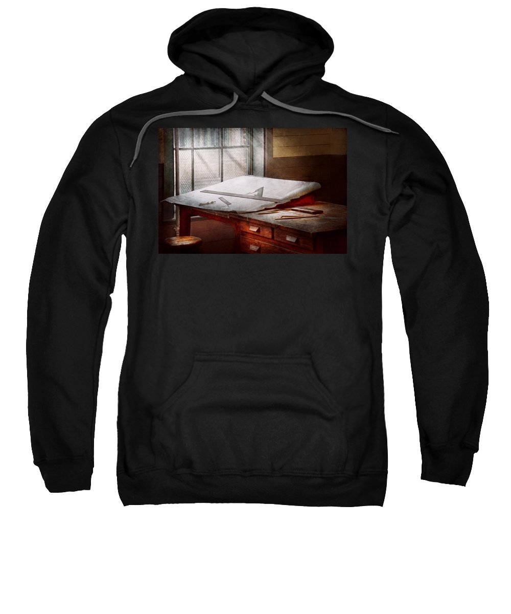 Draftsman Sweatshirt featuring the photograph Drafting - Before Computers Existed by Mike Savad