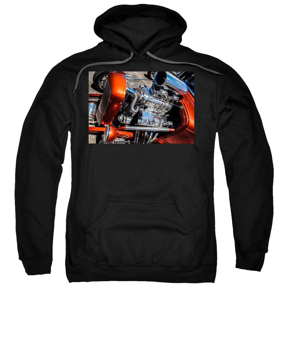 Chrome Sweatshirt featuring the photograph Drag Queen - Hot Rod Blown Chrome by Steven Milner