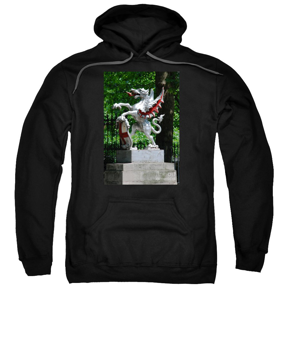 Dragon Sculpture St George Shield London Sweatshirt featuring the photograph Dragon With St George Shield by Richard Gibb
