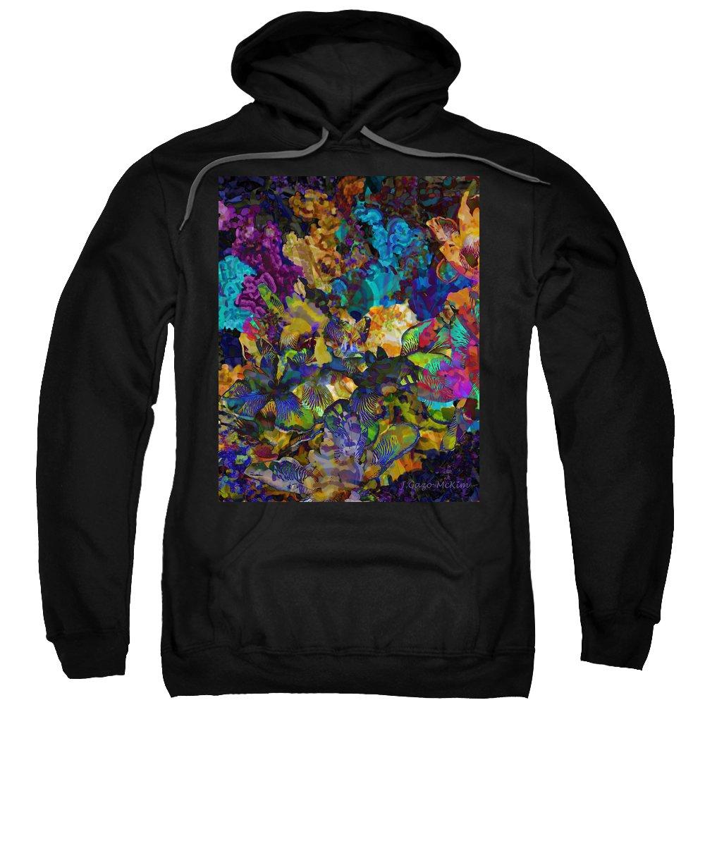 Flowers Sweatshirt featuring the digital art Dramatic Blooms 01 by Jo-Anne Gazo-McKim