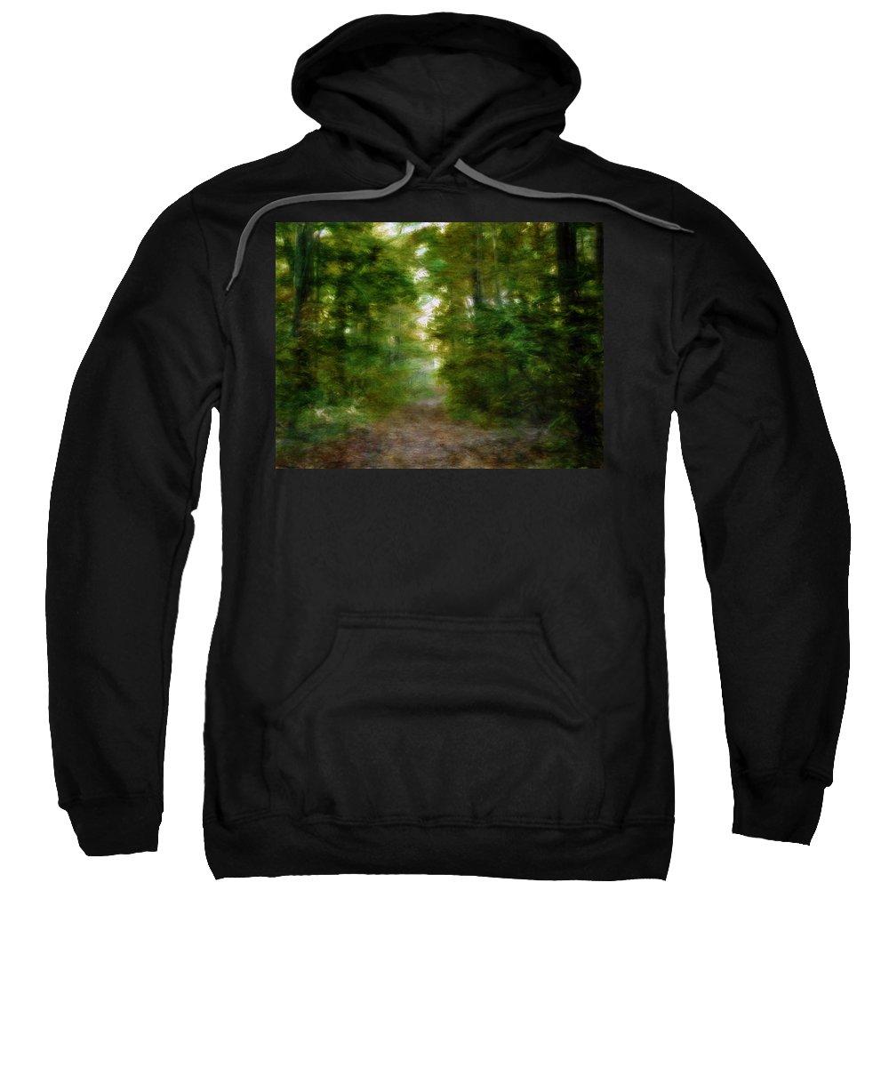 Fall Sweatshirt featuring the digital art Dreamy Forest by Tina Baxter