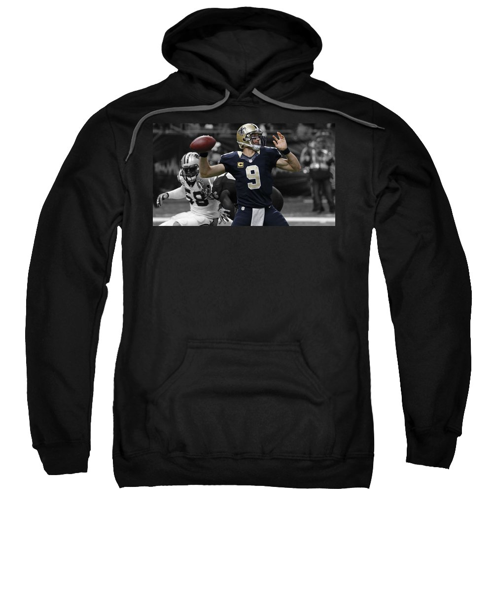 Drew Brees Sweatshirt featuring the mixed media Drew Brees by Brian Reaves