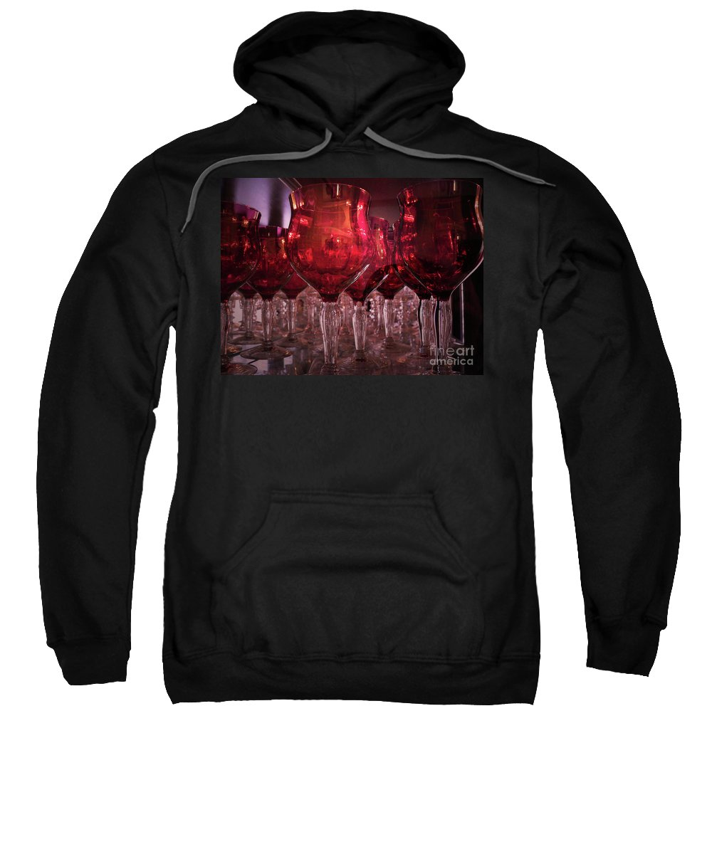 Glass Sweatshirt featuring the photograph Drink Red by Angela Wright