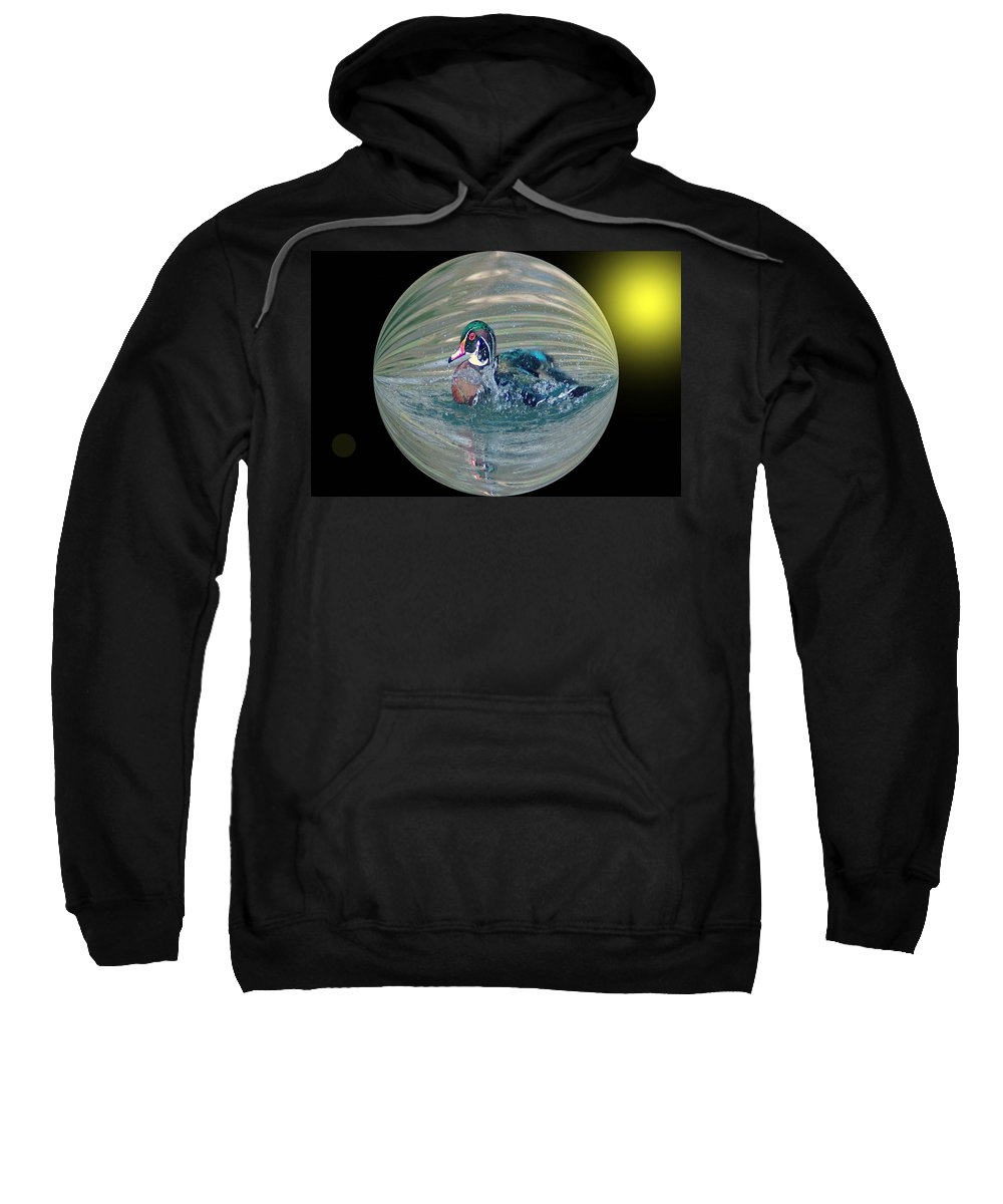 Ducks Sweatshirt featuring the photograph Duck In A Bubble by Jeff Swan