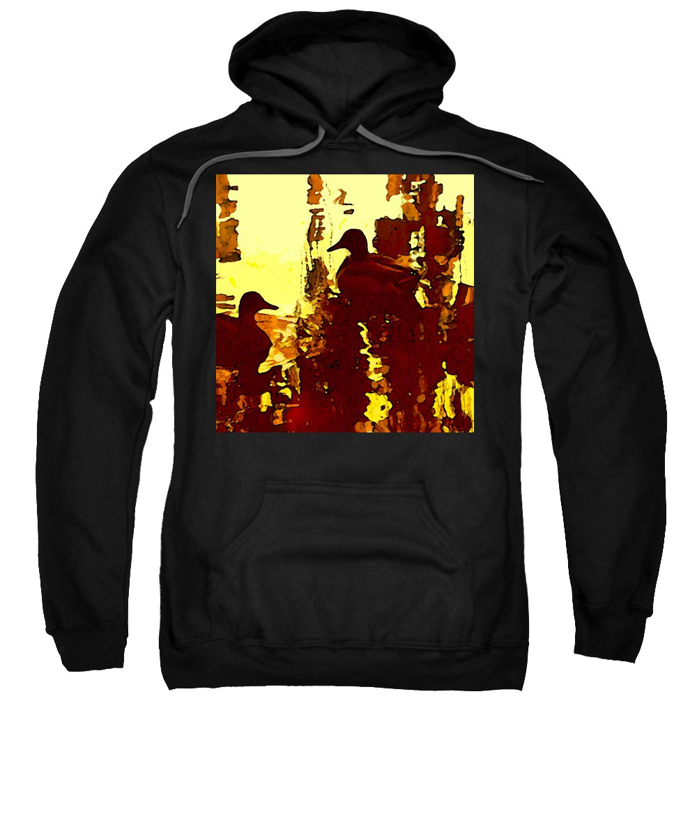 Landscape Sweatshirt featuring the painting Ducks On Red Lake 3 by Amy Vangsgard