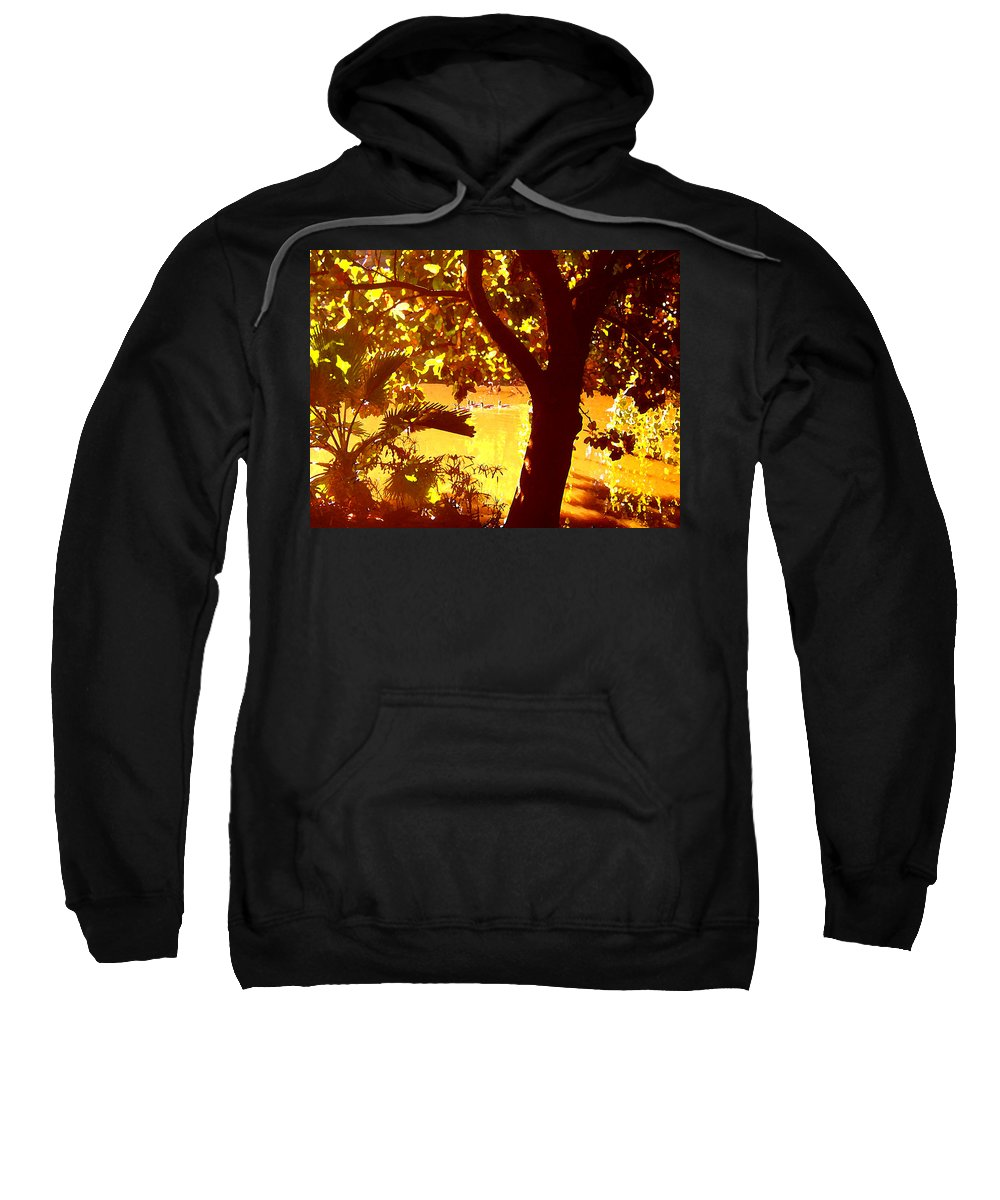 Landscapes Sweatshirt featuring the painting Ducks Swimming In The Distance by Amy Vangsgard