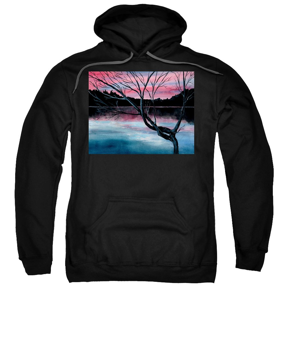 Landscape Sweatshirt featuring the painting Dusk Lake Arrowhead Maine by Brenda Owen
