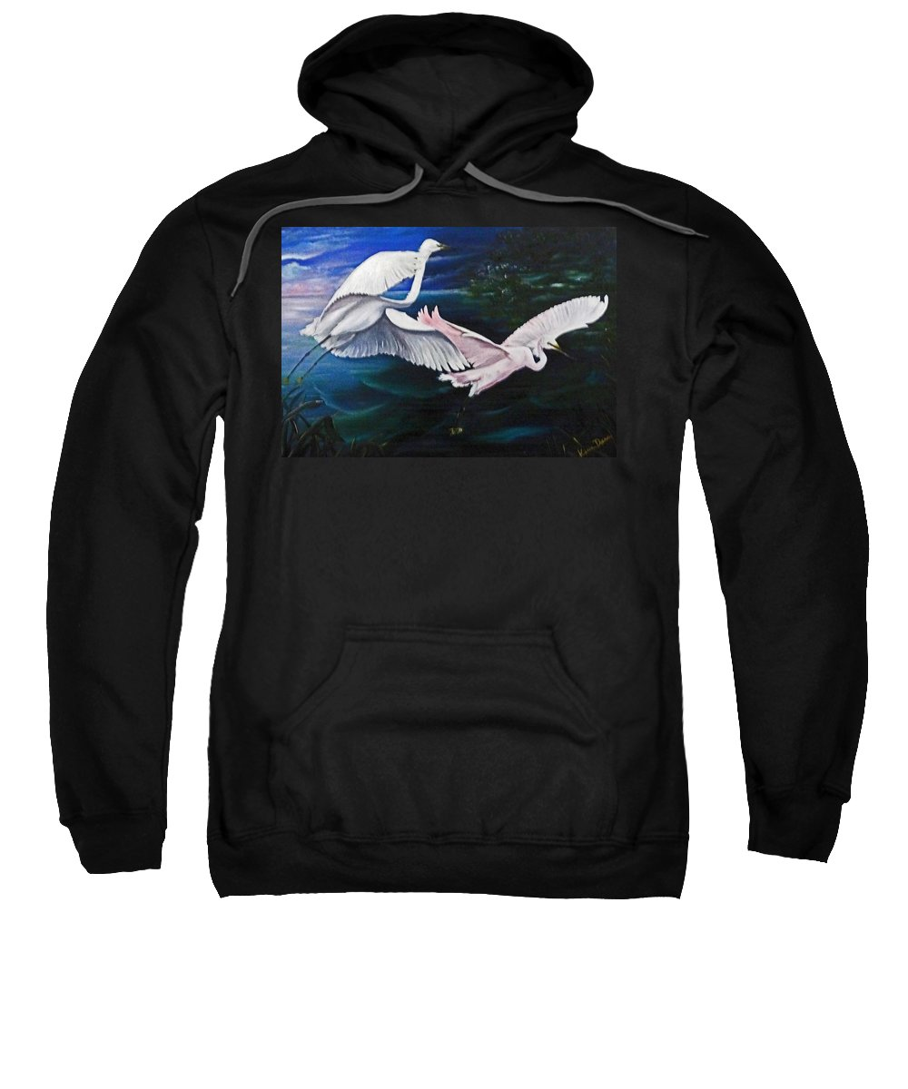 Snowy Egrets Sweatshirt featuring the painting Early Flight by Karin Dawn Kelshall- Best