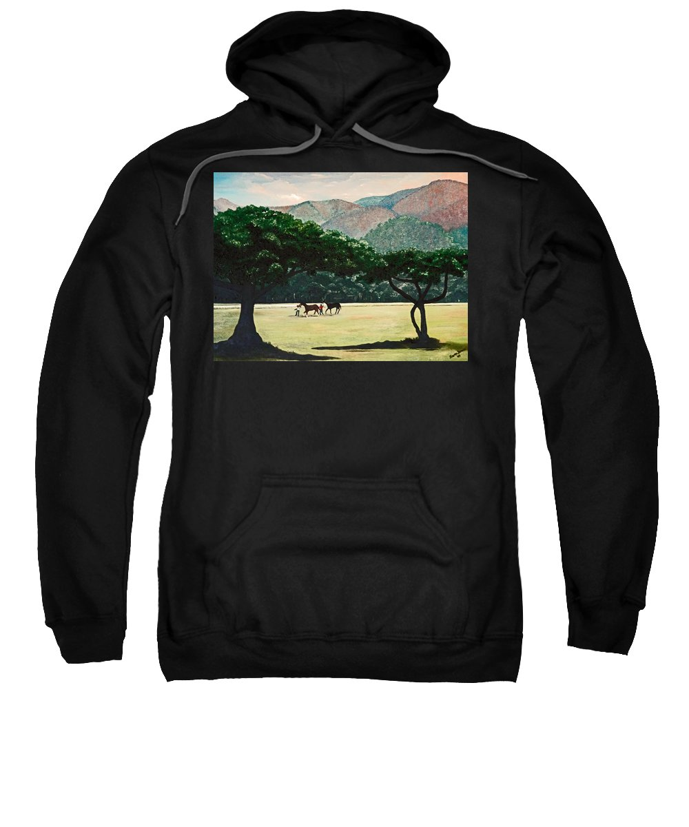 Trees Sweatshirt featuring the painting Early Morning Savannah by Karin Dawn Kelshall- Best